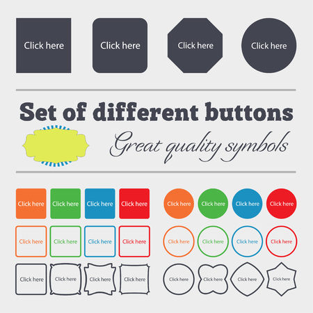 press button: Click here sign icon. Press button. Big set of colorful, diverse, high-quality buttons. illustration