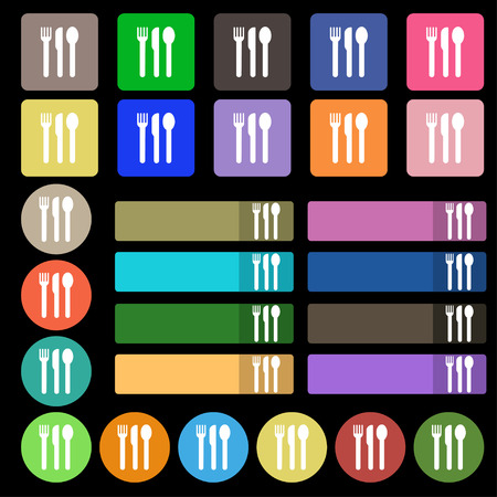 silver ware: fork, knife, spoon icon sign. Set from twenty seven multicolored flat buttons. illustration