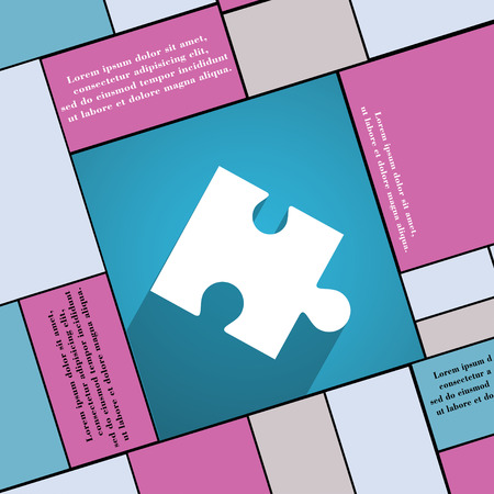 conundrum: Puzzle piece icon symbol Flat modern web design with long shadow and space for your text. illustration