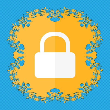 pad lock: Pad Lock icon. Floral flat design on a blue abstract background with place for your text. illustration