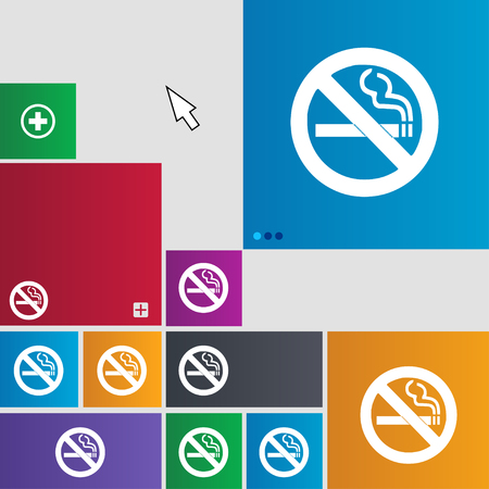 cigar shape: no smoking icon sign. buttons. Modern interface website buttons with cursor pointer. illustration