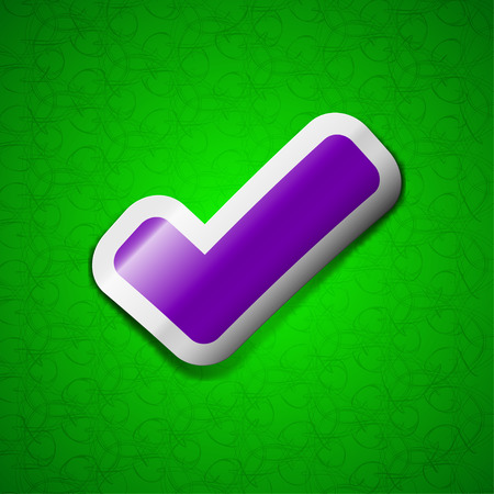 tik: Check mark, tik icon sign. Symbol chic colored sticky label on green background. illustration Stock Photo