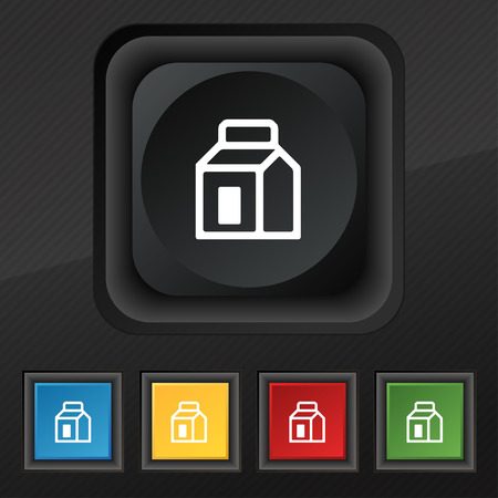 nectars: Milk, Juice, Beverages, Carton Package icon symbol. Set of five colorful, stylish buttons on black texture for your design. illustration Stock Photo