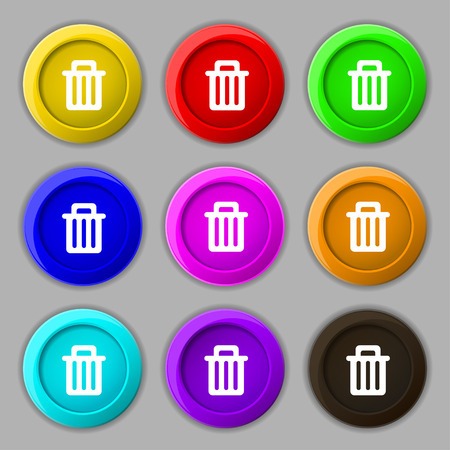 utilize: Recycle bin icon sign. symbol on nine round colourful buttons. illustration Stock Photo