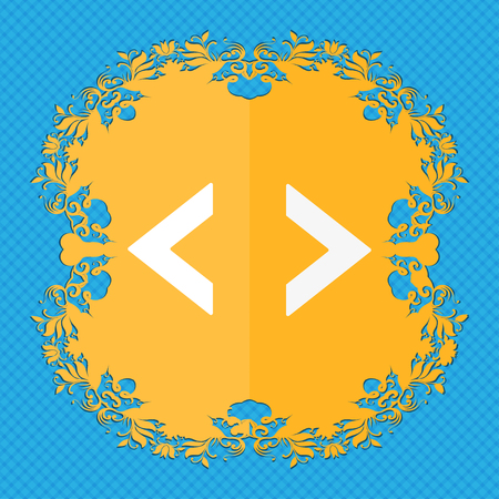 the programmer: Code sign icon. Programmer symbol. Floral flat design on a blue abstract background with place for your text. illustration
