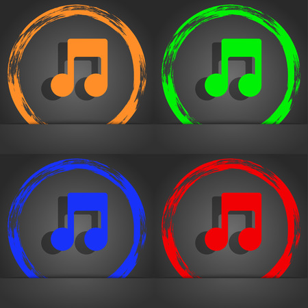 music symbol: Music note icon symbol. Fashionable modern style. In the orange, green, blue, green design. illustration Stock Photo