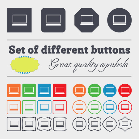 netbook: Laptop sign icon. Notebook pc symbol. Big set of colorful, diverse, high-quality buttons. illustration