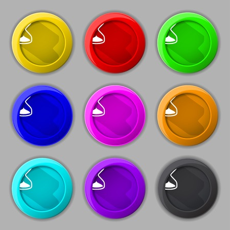 sand timer: Hourglass sign icon. Sand timer symbol. Set of colour buttons. illustration Stock Photo