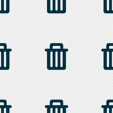 recycle bin: Recycle bin icon sign. Seamless pattern with geometric texture. illustration Stock Photo
