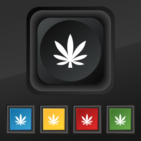 marihuana: Cannabis leaf icon symbol. Set of five colorful, stylish buttons on black texture for your design. illustration