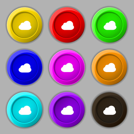 cloud nine: Cloud icon sign. symbol on nine round colourful buttons. illustration Stock Photo