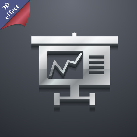 grow money: Graph icon symbol. 3D style. Trendy, modern design with space for your text illustration. Rastrized copy