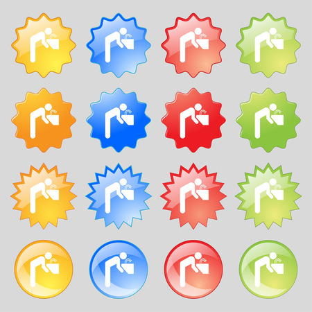 soda splash: drinking fountain icon sign. Big set of 16 colorful modern buttons for your design. illustration