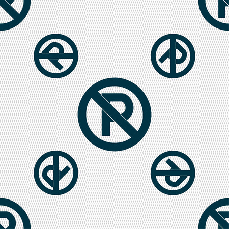 no  parking: No parking icon sign. Seamless pattern with geometric texture. illustration