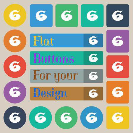 twenty six: number six icon sign. Set of twenty colored flat, round, square and rectangular buttons. illustration