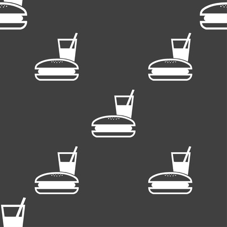 chinese takeout box: lunch box icon sign. Seamless pattern on a gray background. illustration