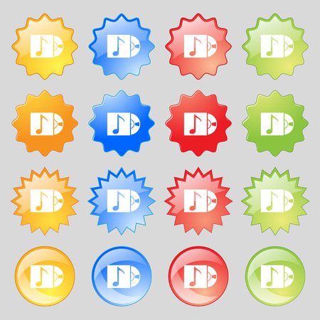 cd player: cd player icon sign. Big set of 16 colorful modern buttons for your design. illustration