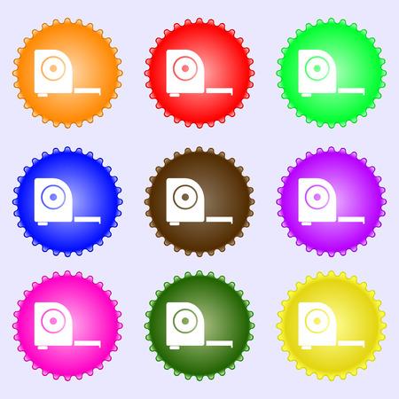 cintas metricas: la construcci�n de la ruleta icono de la muestra. Un conjunto de nueve etiquetas de colores diferentes. ilustraci�n Foto de archivo