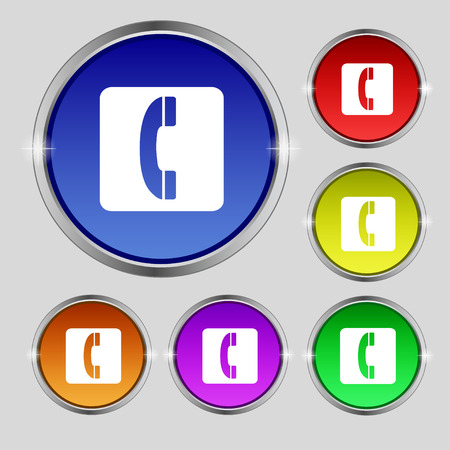 cordless phone: handset icon sign. Round symbol on bright colourful buttons. illustration Stock Photo
