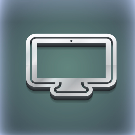 monitor icon symbol. 3D style. Trendy, modern design with space for your text illustration. Raster version Stock Photo
