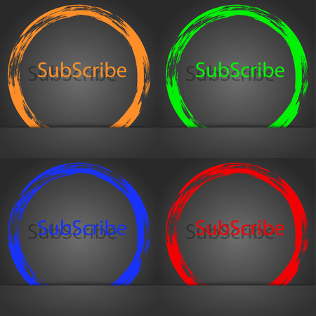 subscribing: Subscribe sign icon. Membership symbol. Website navigation. Fashionable modern style. In the orange, green, blue, red design. illustration
