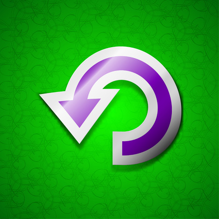 synchronize: Upgrade, arrow, update icon sign. Symbol chic colored sticky label on green background. illustration