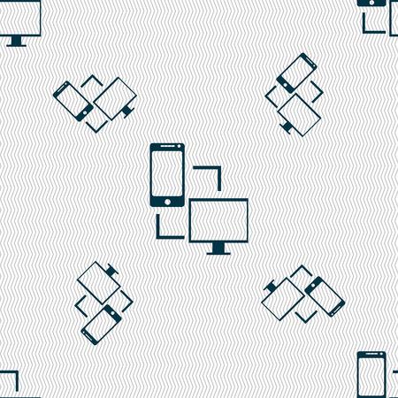 synchronization: Synchronization sign icon. communicators sync symbol. Data exchange. Seamless pattern with geometric texture. illustration Stock Photo