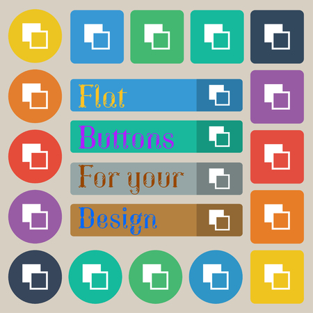 toolbar: Active color toolbar icon sign. Set of twenty colored flat, round, square and rectangular buttons. illustration Stock Photo