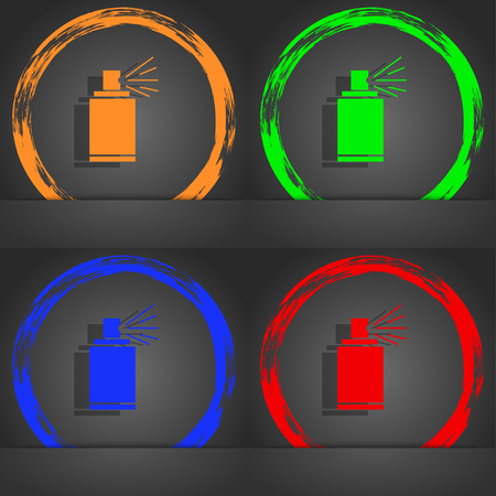 spray paint can: Graffiti spray can sign icon. Aerosol paint symbol. Fashionable modern style. In the orange, green, blue, red design. illustration