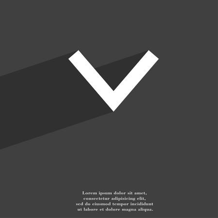 flecha: Flecha hacia abajo, descarga, carga, copia de seguridad del símbolo del icono de diseño web moderno plana con una larga sombra y el espacio para el texto. ilustración