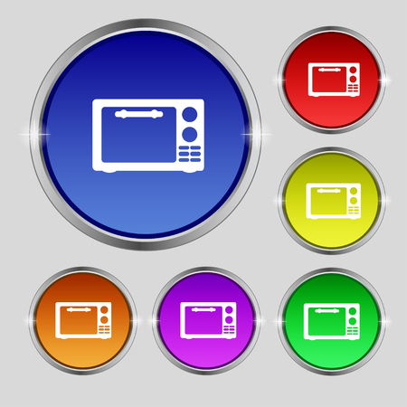 microwave stove: Microwave oven sign icon. Kitchen electric stove symbol. Set colourful buttons. illustration