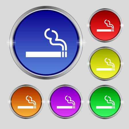 pernicious: cigarette smoke icon sign. Round symbol on bright colourful buttons. illustration Stock Photo