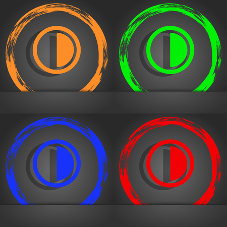 contrast: contrast icon sign. Fashionable modern style. In the orange, green, blue, red design. illustration