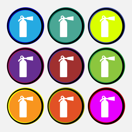 inflammable: fire extinguisher icon sign. Nine multi colored round buttons. illustration