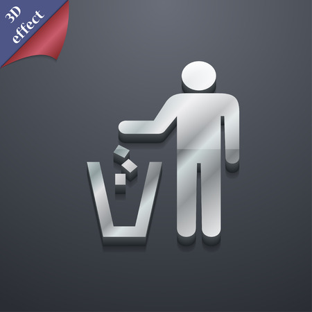 throw away: throw away the trash icon symbol. 3D style. Trendy, modern design with space for your text illustration. Rastrized copy