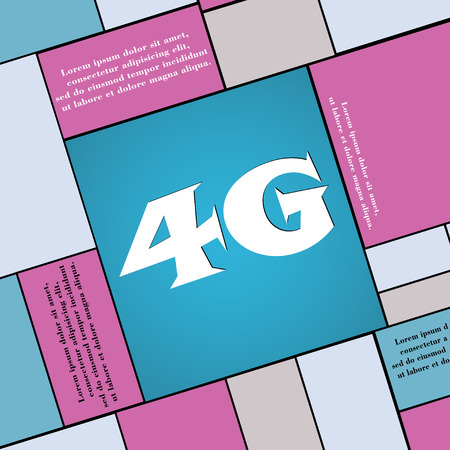 4g: 4G icon symbol Flat modern web design with long shadow and space for your text. illustration Stock Photo