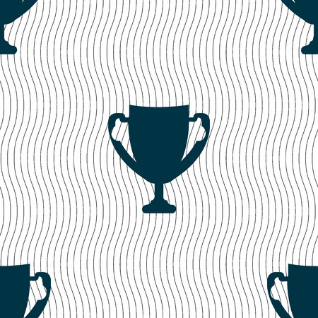 awarding: Winner cup sign icon. Awarding of winners symbol. Trophy. Seamless pattern with geometric texture. illustration