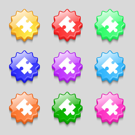 puzzle corners: Puzzle piece icon sign. Symbols on nine wavy colourful buttons. illustration