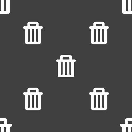 garbage tank: Recycle bin icon sign. Seamless pattern on a gray background. illustration