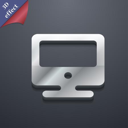 incrustation: monitor icon symbol. 3D style. Trendy, modern design with space for your text illustration. Rastrized copy