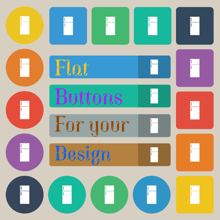 cold storage: Refrigerator icon sign. Set of twenty colored flat, round, square and rectangular buttons. illustration