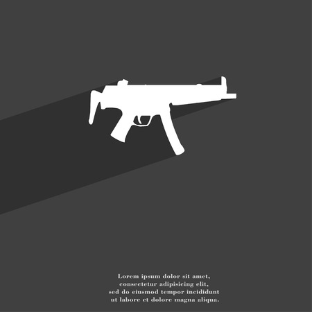 war paint: machine gun icon symbol Flat modern web design with long shadow and space for your text. illustration