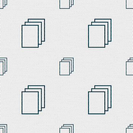 duplicate: Copy file sign icon. Duplicate document symbol. Seamless abstract background with geometric shapes. illustration