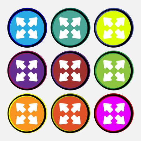 minimize: Deploying video, screen size icon sign. Nine multi-colored round buttons. illustration