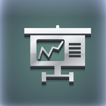 grow money: Graph icon symbol. 3D style. Trendy, modern design with space for your text illustration. Raster version