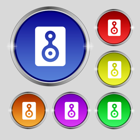 vcr: Video Tape icon sign. Round symbol on bright colourful buttons. illustration
