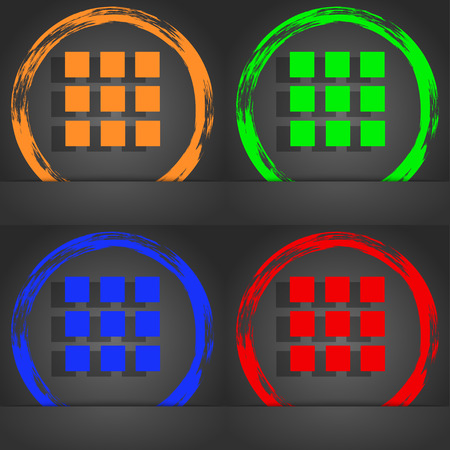 the view option: List sign icon. Content view option symbol. Fashionable modern style. In the orange, green, blue, red design. illustration Stock Photo