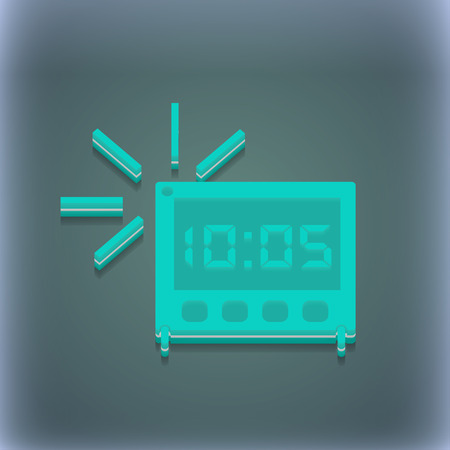 digital clock: digital Alarm Clock icon symbol. 3D style. Trendy, modern design with space for your text illustration. Raster version