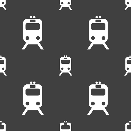 sea tanker ship: train icon sign. Seamless pattern on a gray background. illustration Stock Photo