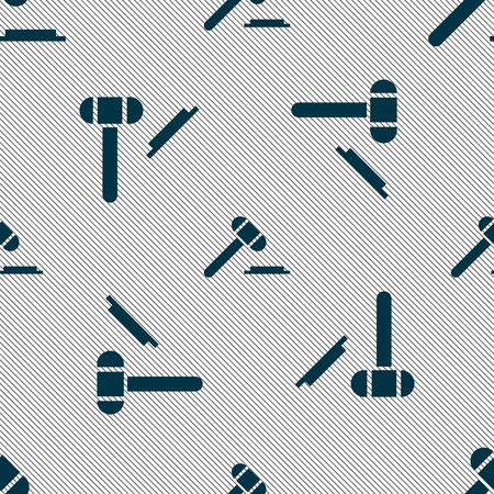 defendant: judge hammer icon. Seamless pattern with geometric texture. illustration Stock Photo
